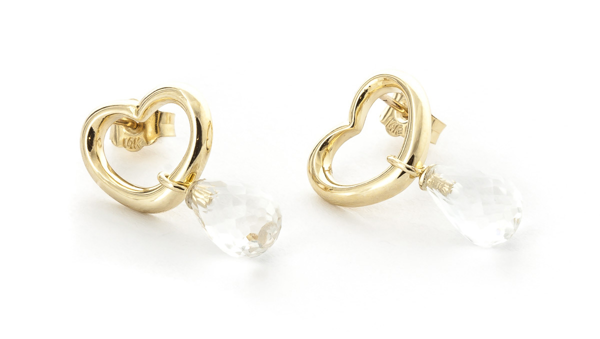 White Topaz Stud Earrings 4.5ctw in 9ct Gold