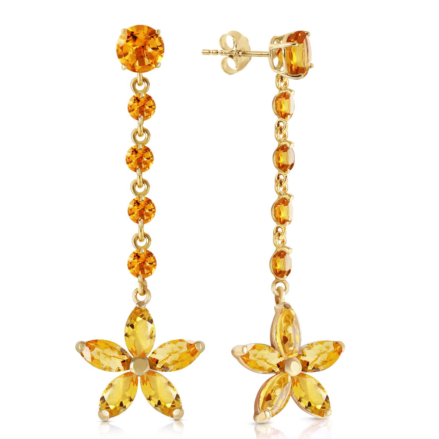 Citrine Daisy Chain Drop Earrings 4.8ctw in 9ct Gold