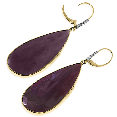 Ruby and Diamond Drop Earrings 40.0ctw in 9ct Gold