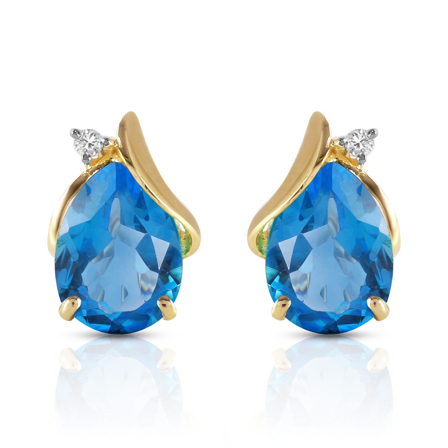 Blue Topaz and Diamond Stud Earrings 5.0ctw in 9ct Gold