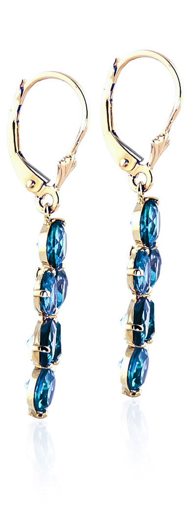 Blue Topaz Blossom Drop Earrings 5.32ctw in 9ct Gold