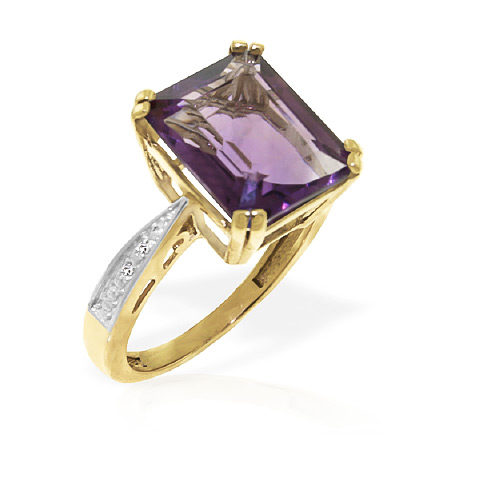 Amethyst and Diamond Ring 5.6ct in 9ct Gold