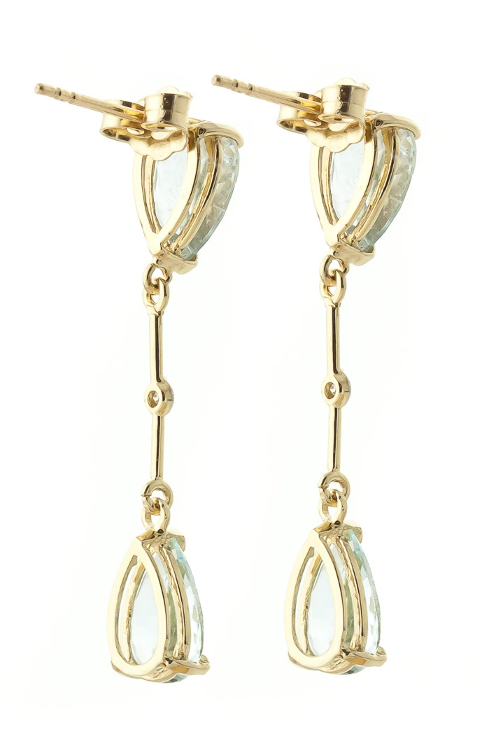 Aquamarine and Diamond Drop Earrings 6.0ctw in 9ct Gold