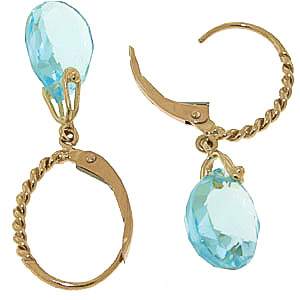 Blue Topaz Plait Stem Briolette Drop Earrings 6.0ctw in 9ct Gold