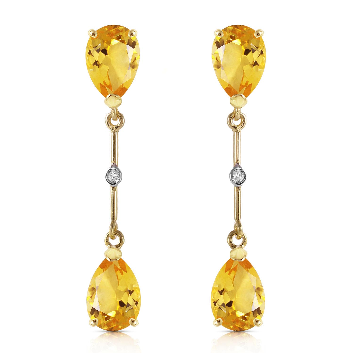 Citrine and Diamond Drop Earrings 6.0ctw in 9ct Gold