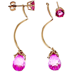 Pink Topaz Lure Drop Earrings 6.8ctw in 9ct Gold