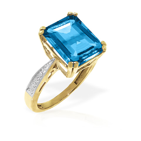 Blue Topaz and Diamond Ring 7.6ct in 9ct Gold