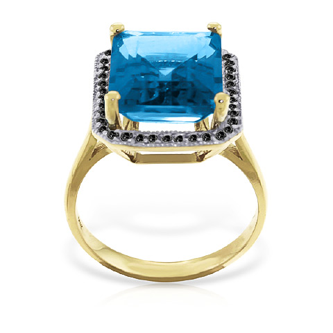 Blue Topaz and Diamond Halo Ring 7.6ct in 9ct Gold