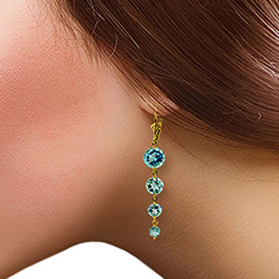 Blue Topaz Quadruplo Drop Earrings 7.8ctw in 9ct Gold