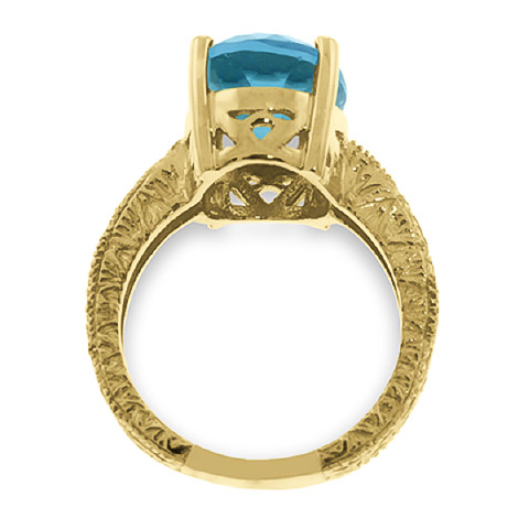 Oval Cut Blue Topaz Ring 8.0ctw in 9ct Gold
