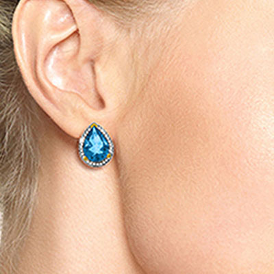 Blue Topaz and Diamond French Clip Halo Earrings 9.0ctw in 9ct Gold
