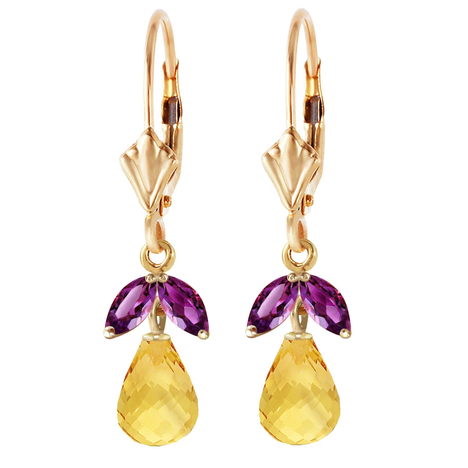 Citrine and Amethyst Snowdrop Earrings 3.4ctw in 9ct Gold