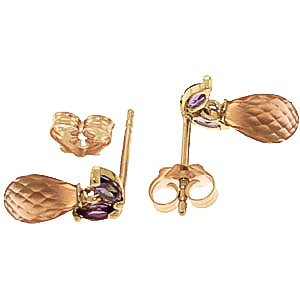 Citrine and Amethyst Snowdrop Stud Earrings 3.4ctw in 9ct Gold