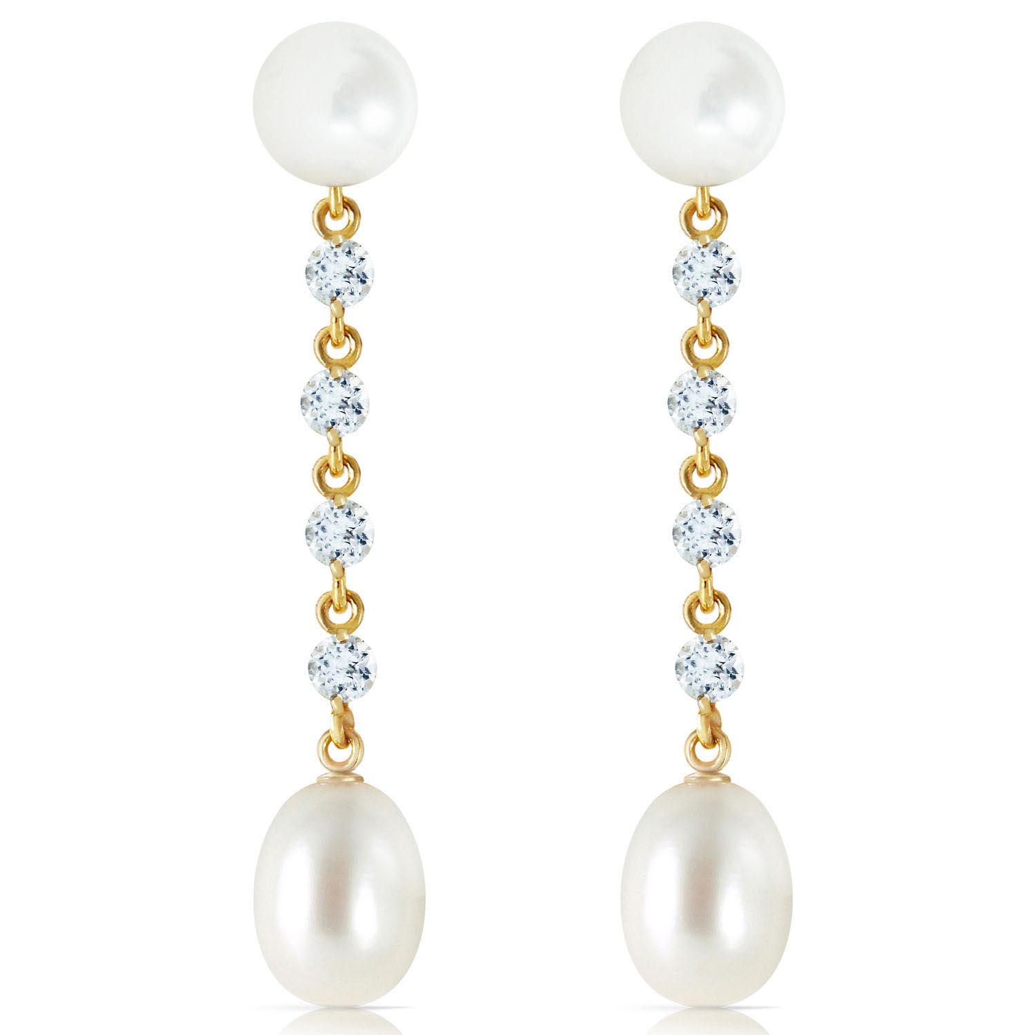 Pearl and Aquamarine by the Yard Drop Earrings 11.0ctw in 9ct Gold