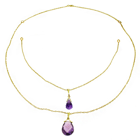 Amethyst Briolette Pendant Necklace 7.5ctw in 9ct Gold