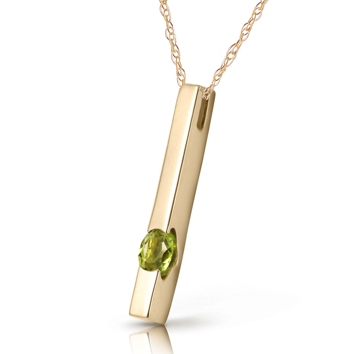 Peridot Bar Drop Pendant Necklace 0.25ct in 9ct Gold