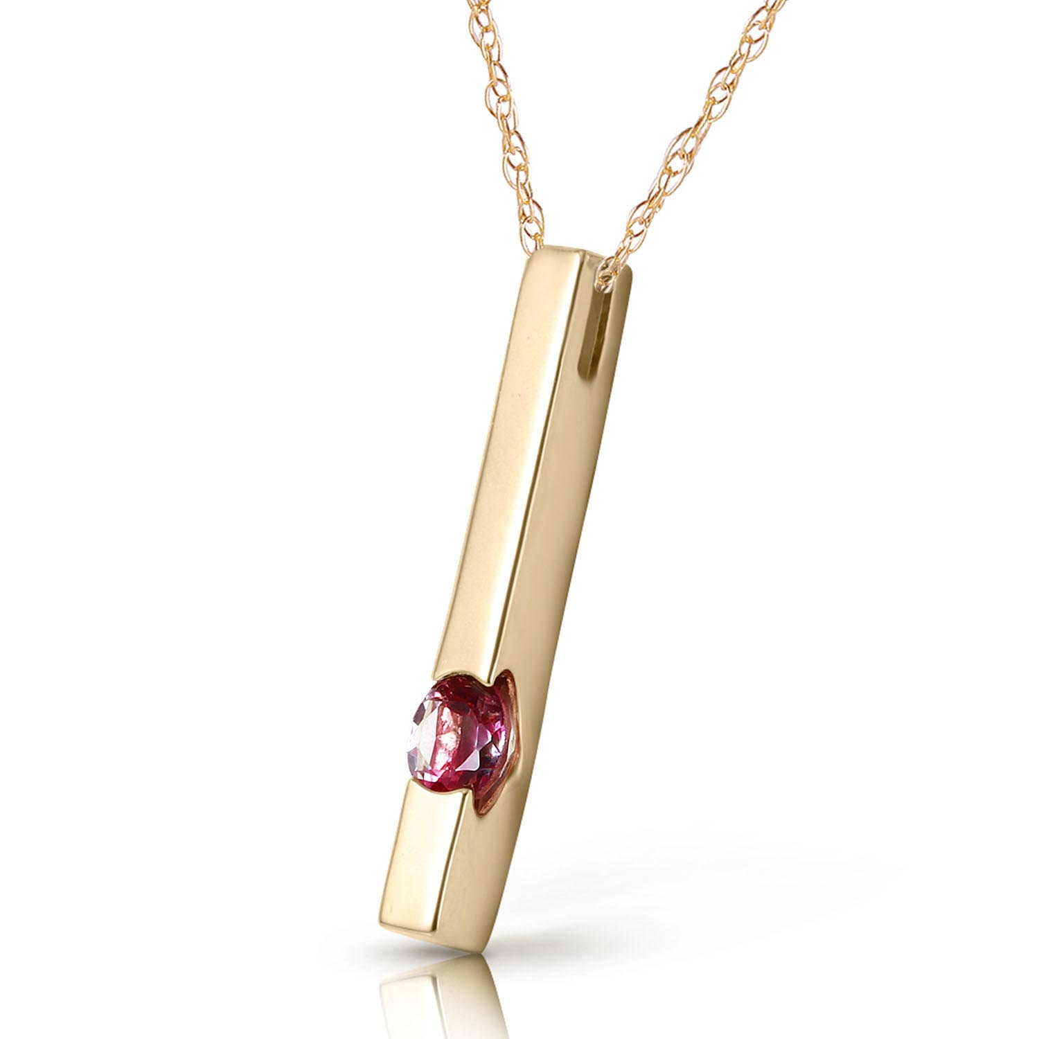 Pink Topaz Bar Drop Pendant Necklace 0.25ct in 9ct Gold