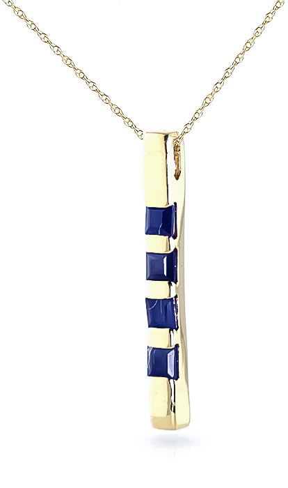 Sapphire Bar Pendant Necklace 0.35ctw in 9ct Gold