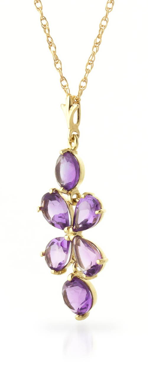 Amethyst Blossom Pendant Necklace 3.15ctw in 9ct Gold