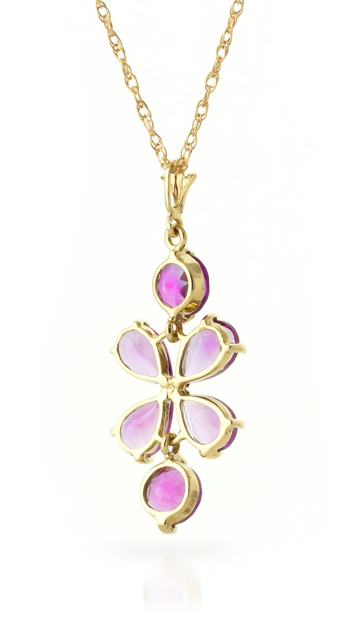 Pink Topaz Blossom Pendant Necklace 3.15ctw in 9ct Gold