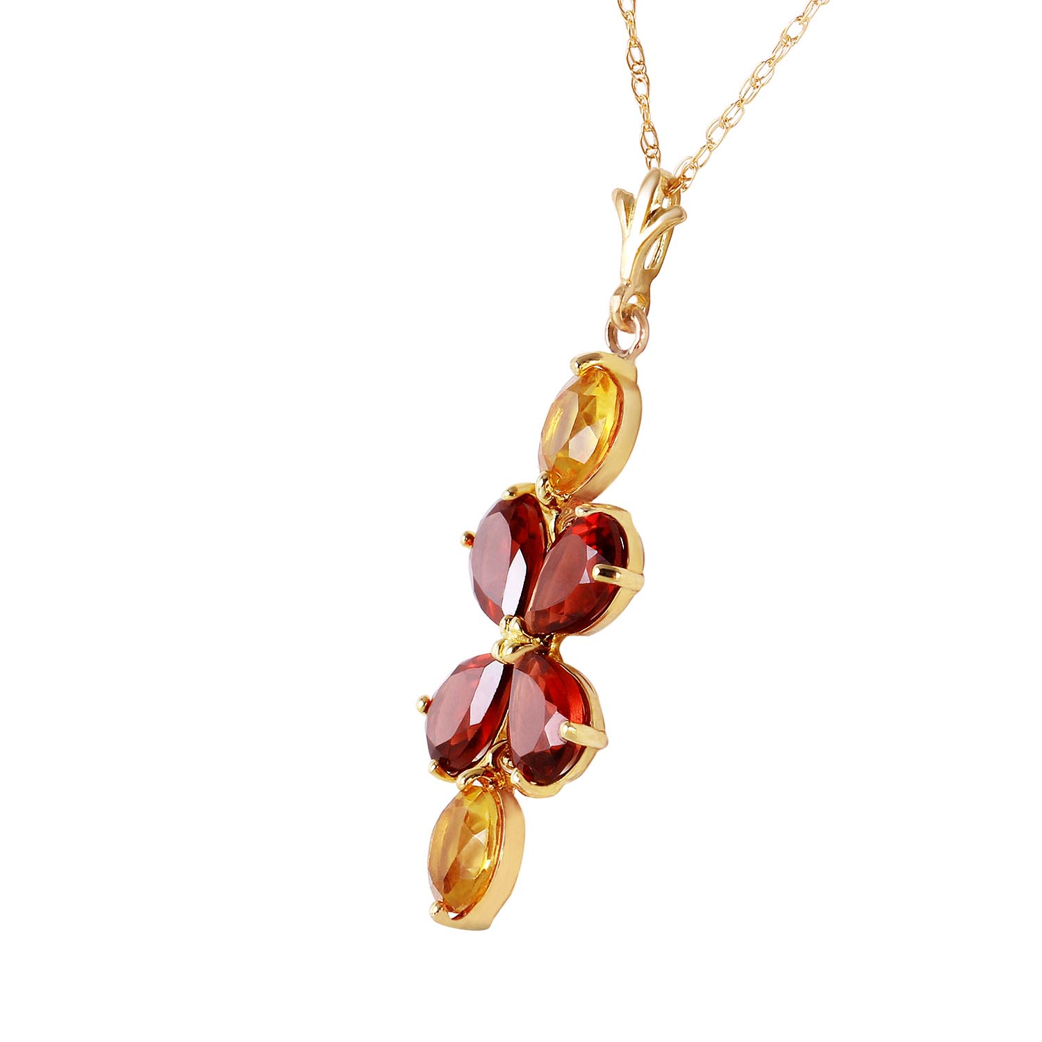 Garnet and Citrine Blossom Pendant Necklace 3.15ctw in 9ct Gold
