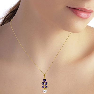 Amethyst and Pearl Blossom Pendant Necklace 3.65ctw in 9ct Gold