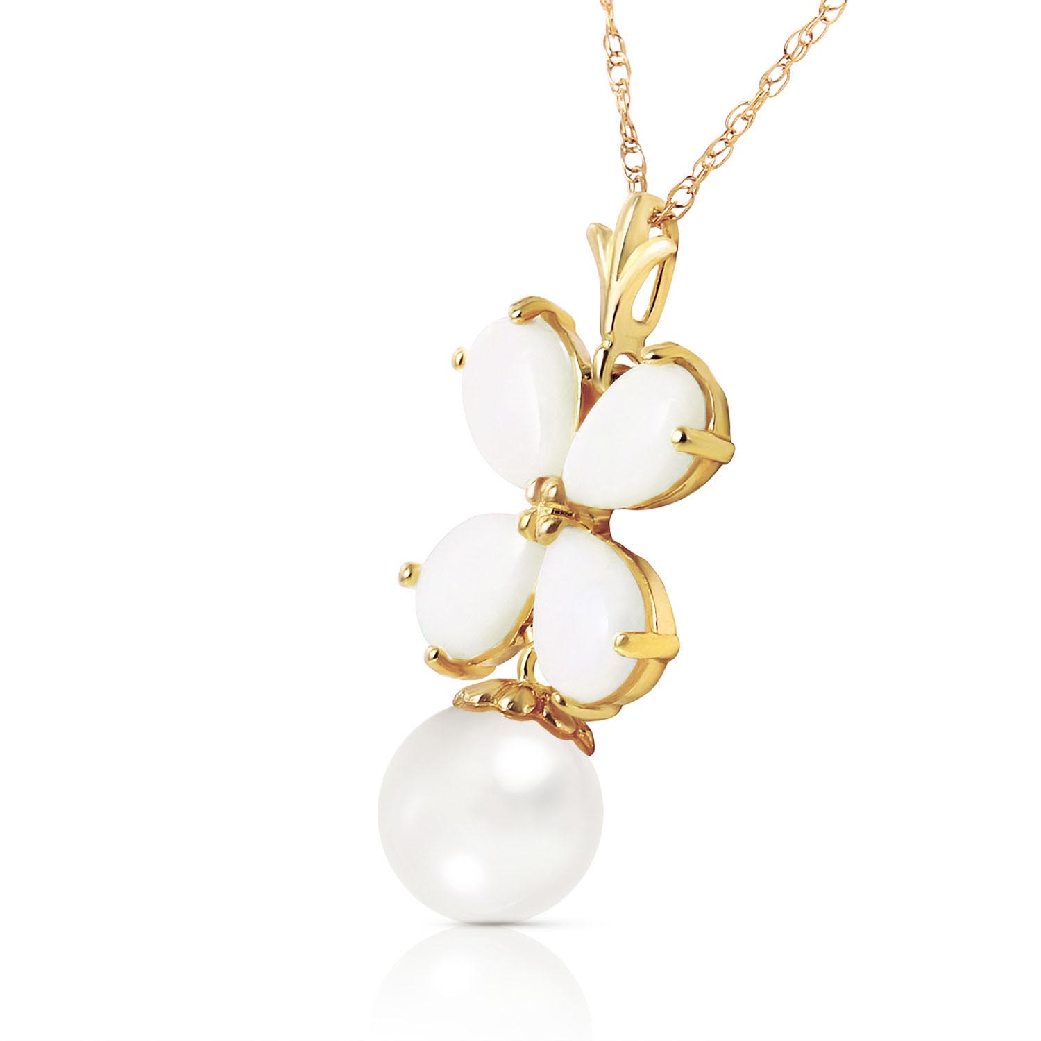 Opal and Pearl Blossom Pendant Necklace 3.0ctw in 9ct Gold