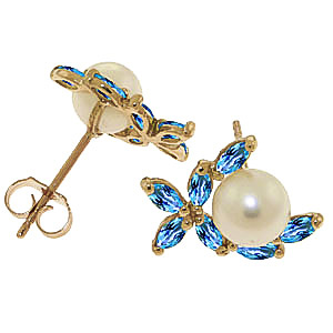 Pearl and Blue Topaz Ivy Stud Earrings 3.25ctw in 9ct Gold