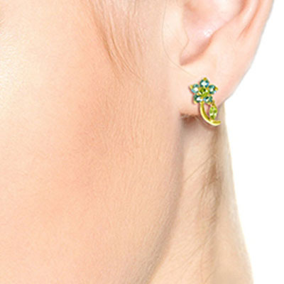 Peridot and Blue Topaz Flower Stud Earrings 1.72ctw in 9ct Gold