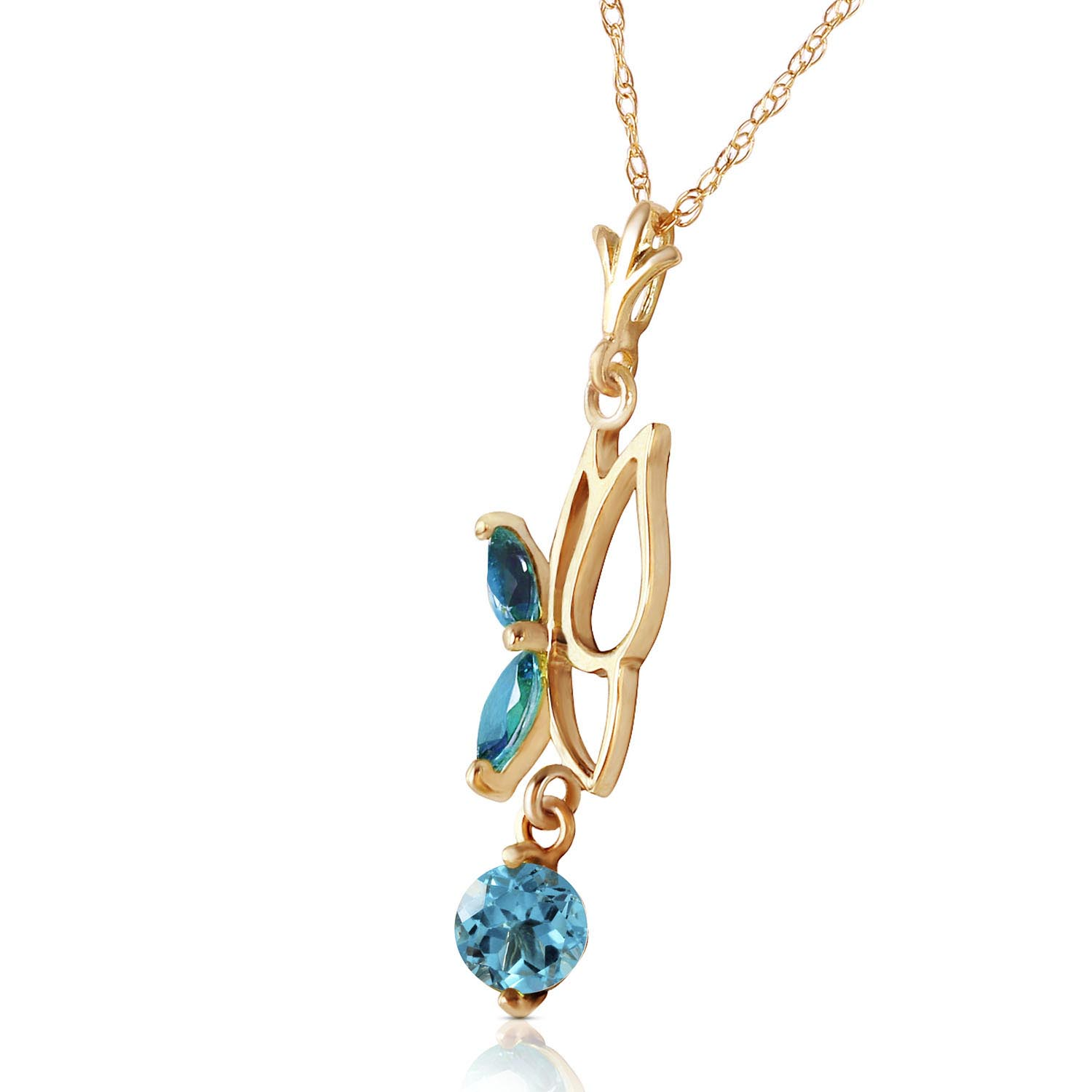 Blue Topaz Butterfly Pendant Necklace 0.18Kw in 9ct Gold