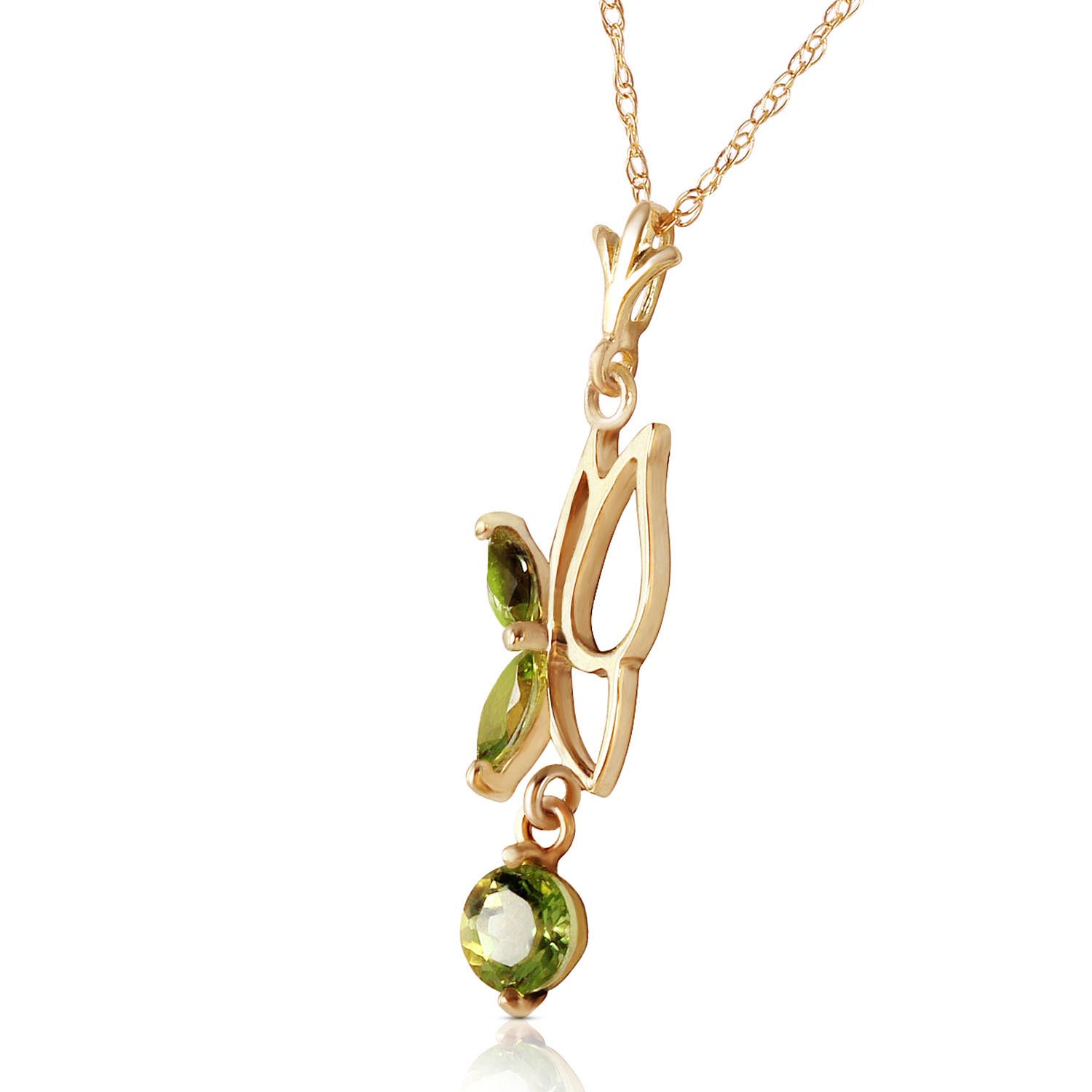 Peridot Butterfly Pendant Necklace 0.18Kw in 9ct Gold