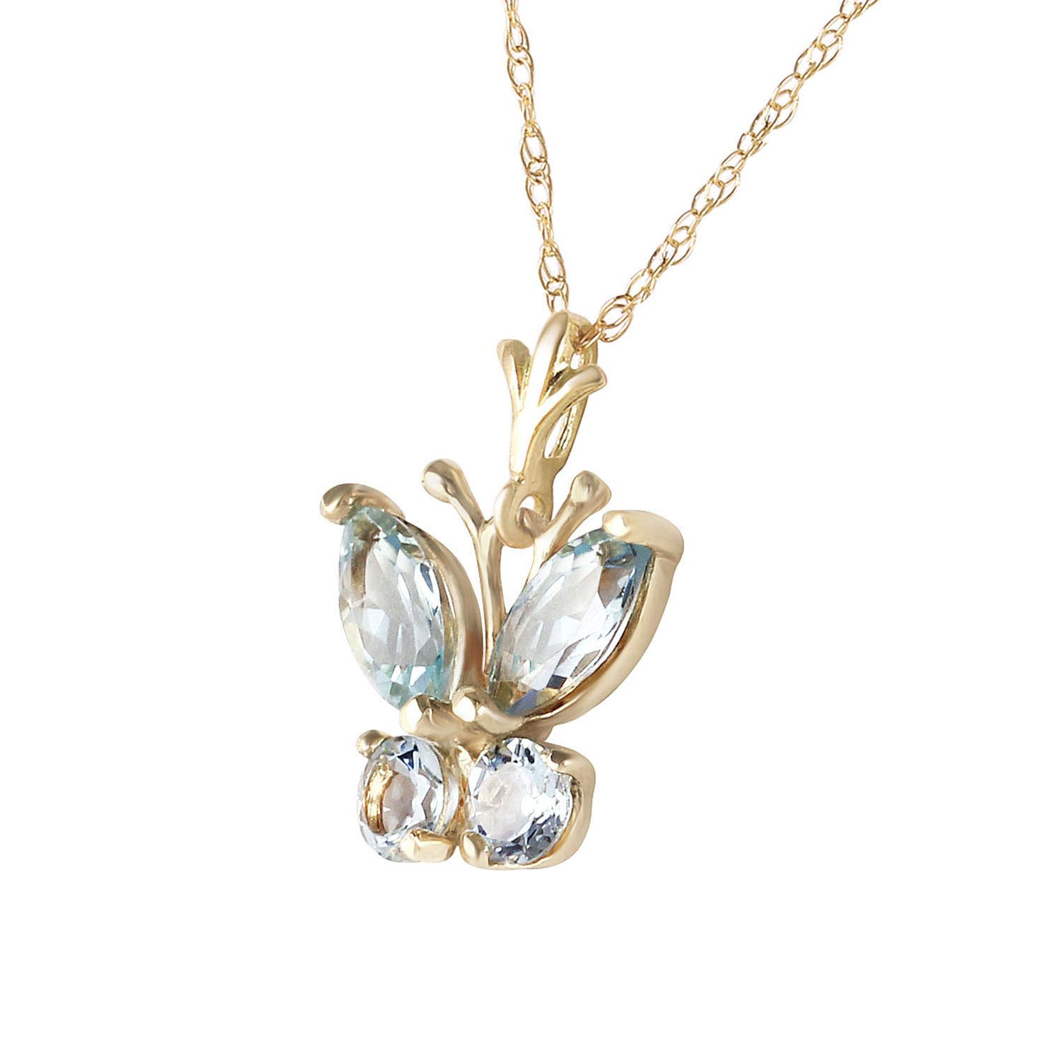 Aquamarine Butterfly Pendant Necklace 0.4ctw in 9ct Gold