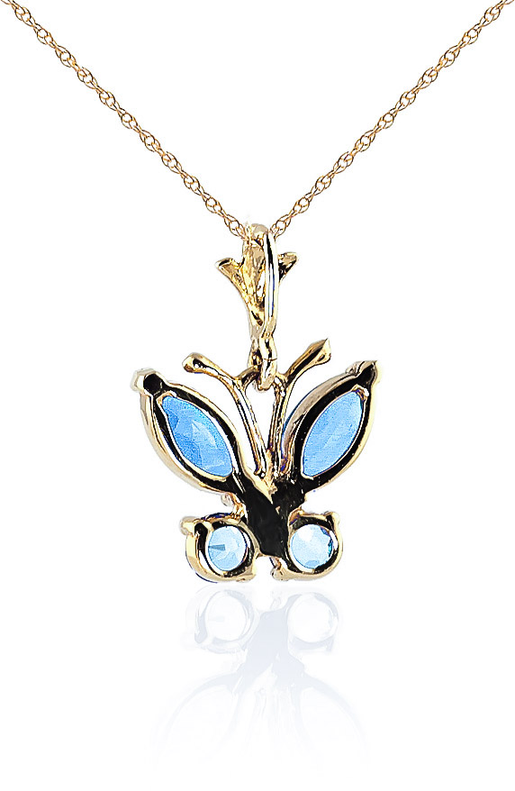 Blue Topaz Butterfly Pendant Necklace 0.6ctw in 9ct Gold