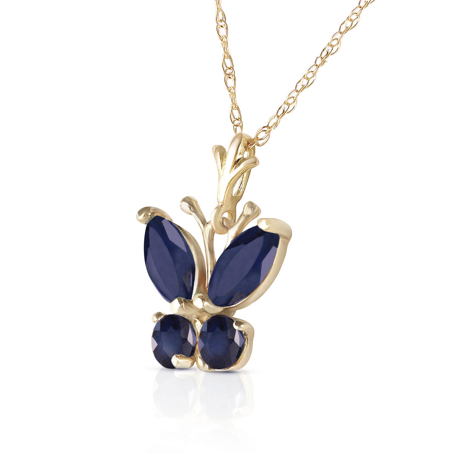 Sapphire Butterfly Pendant Necklace 0.6ctw in 9ct Gold