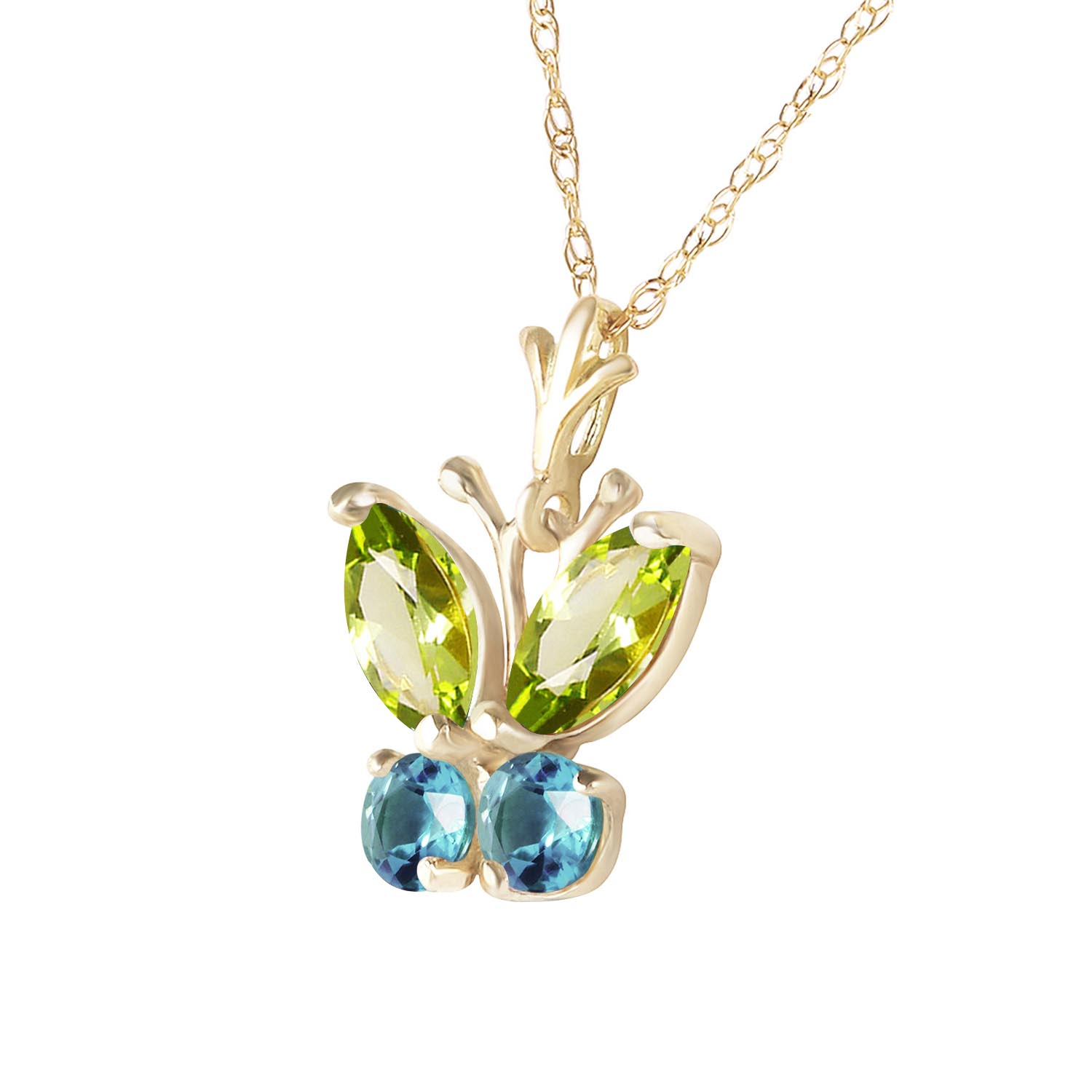 Peridot and Blue Topaz Butterfly Pendant Necklace 0.6ctw in 9ct Gold