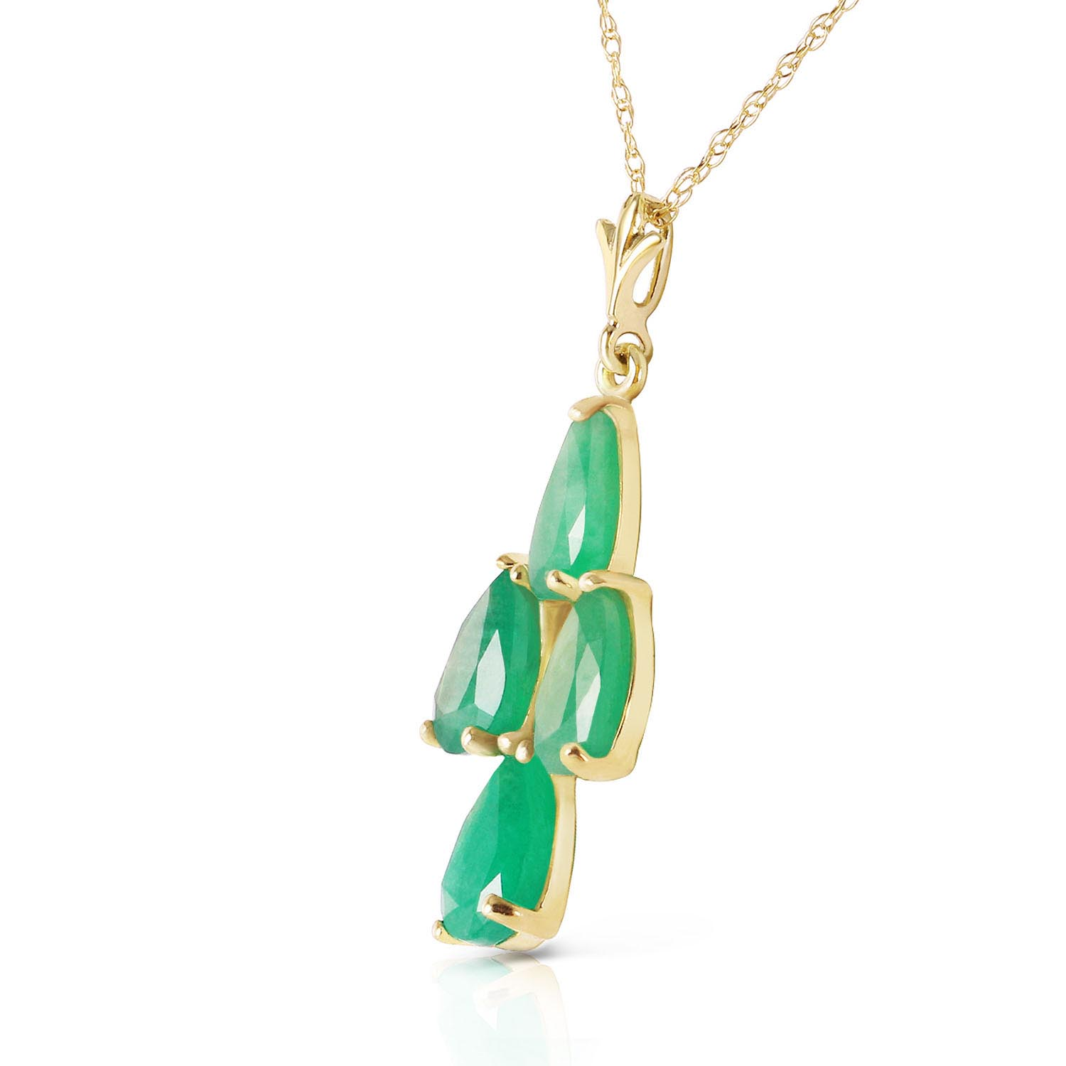 Pear Cut Emerald Pendant Necklace 1.5ctw in 9ct Gold