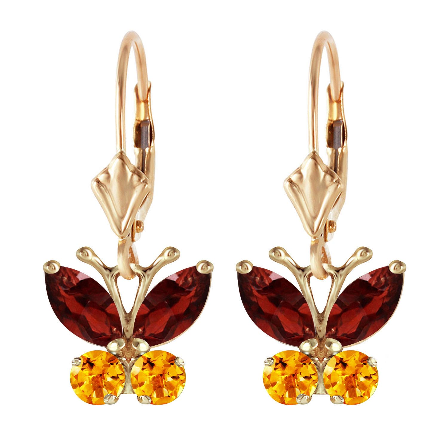 Garnet and Citrine Butterfly Drop Earrings 1.24ctw in 9ct Gold