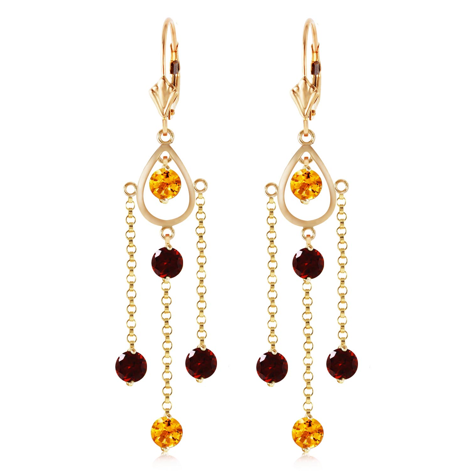 Garnet and Citrine Faro Drop Earrings 3.0ctw in 9ct Gold