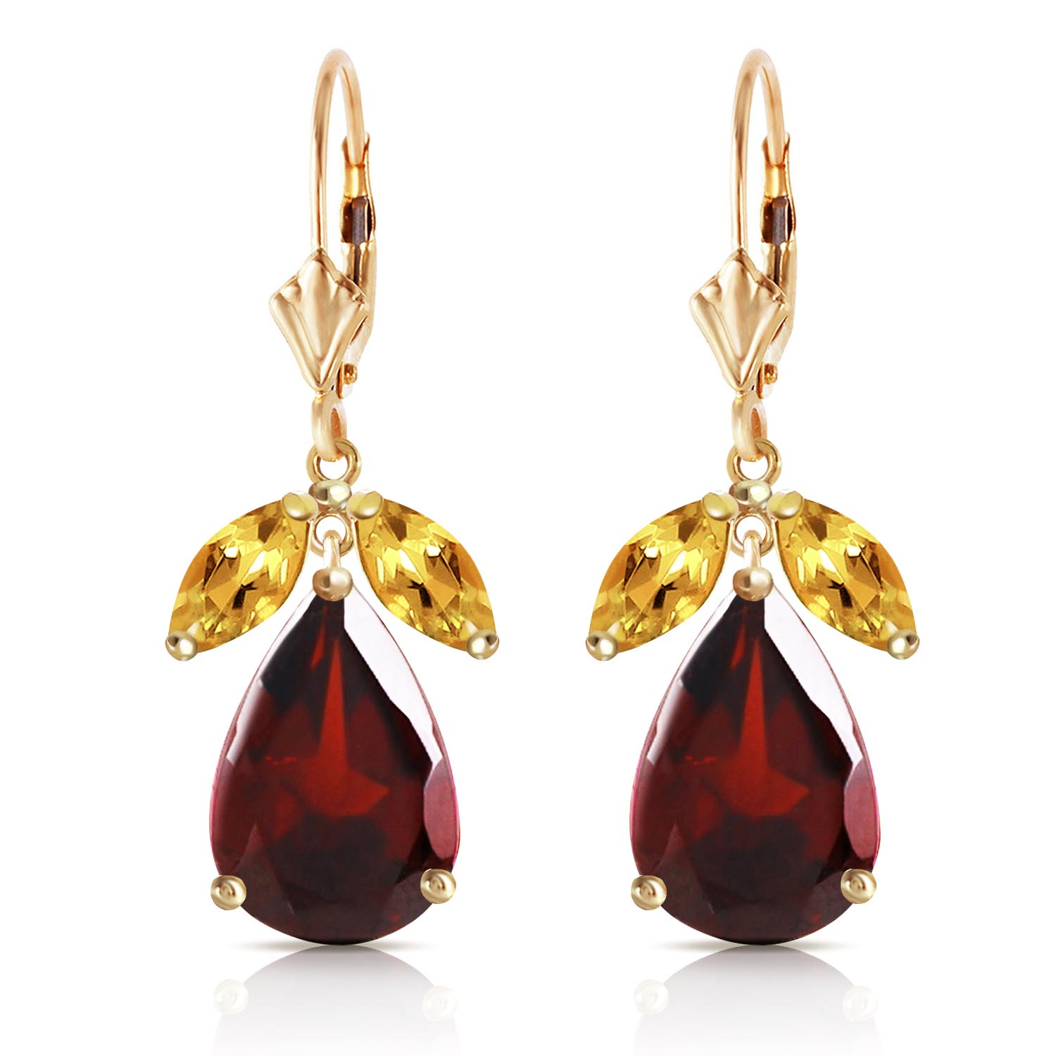 Garnet and Citrine Drop Earrings 13.0ctw in 9ct Gold