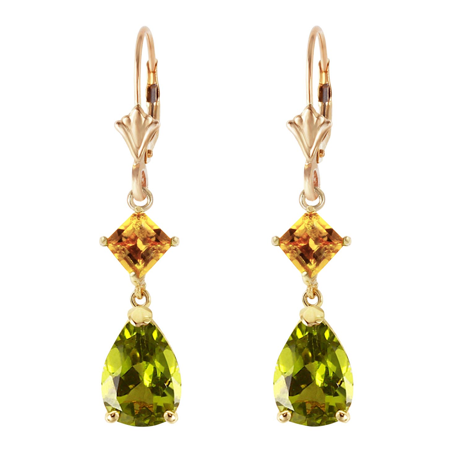 Peridot and Citrine Droplet Earrings 4.5ctw in 9ct Gold