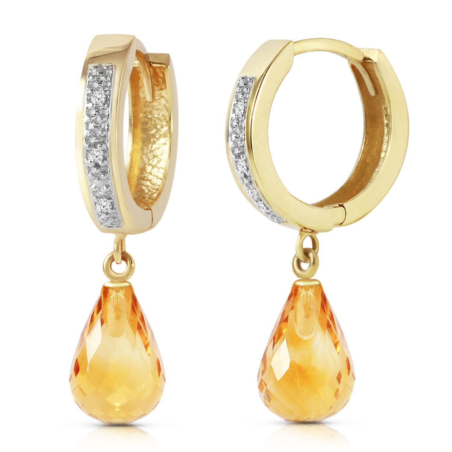 Diamond and Citrine Earrings in 9ct Gold