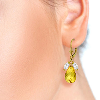 White Topaz and Citrine Drop Earrings 14.4ctw in 9ct Gold