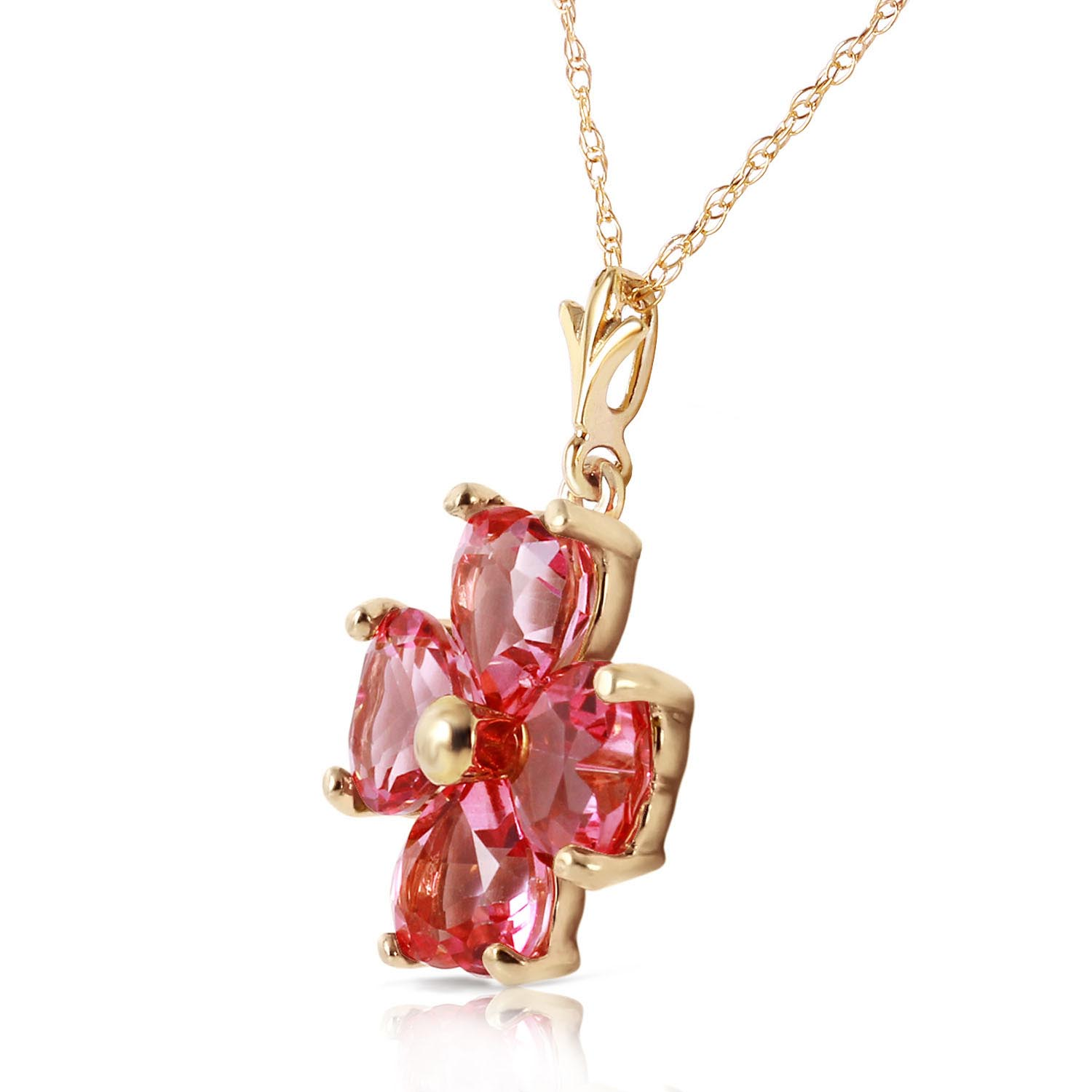 Pink Topaz Four Leaf Clover Heart Pendant Necklace 3.8ctw in 9ct Gold