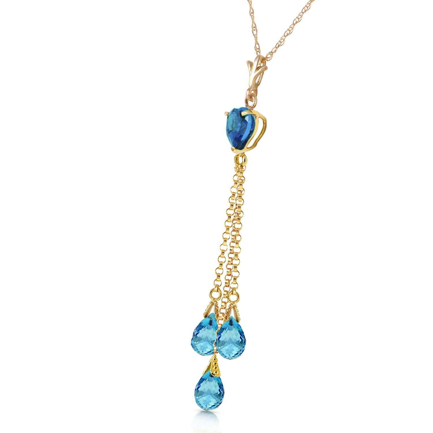 Blue Topaz Comet Tail Heart Pendant Necklace 4.75ctw in 9ct Gold
