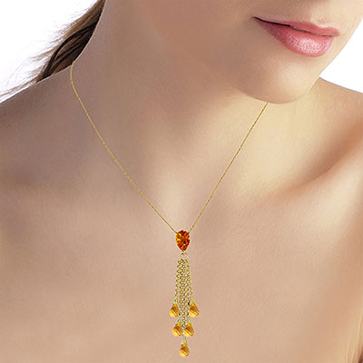 Citrine Comet Tail Pendant Necklace 7.5ctw in 9ct Gold