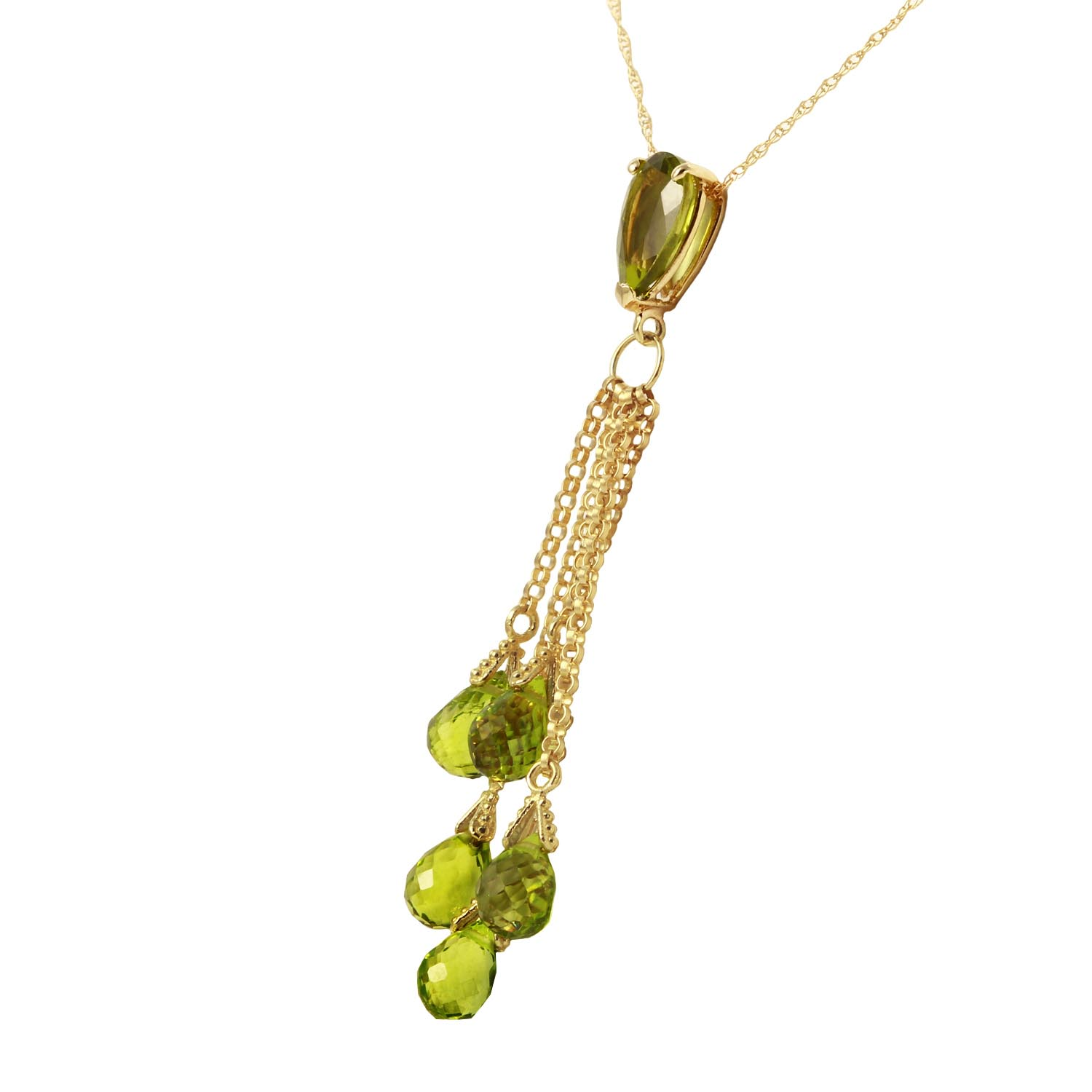 Peridot Comet Tail Pendant Necklace 7.5ctw in 9ct Gold