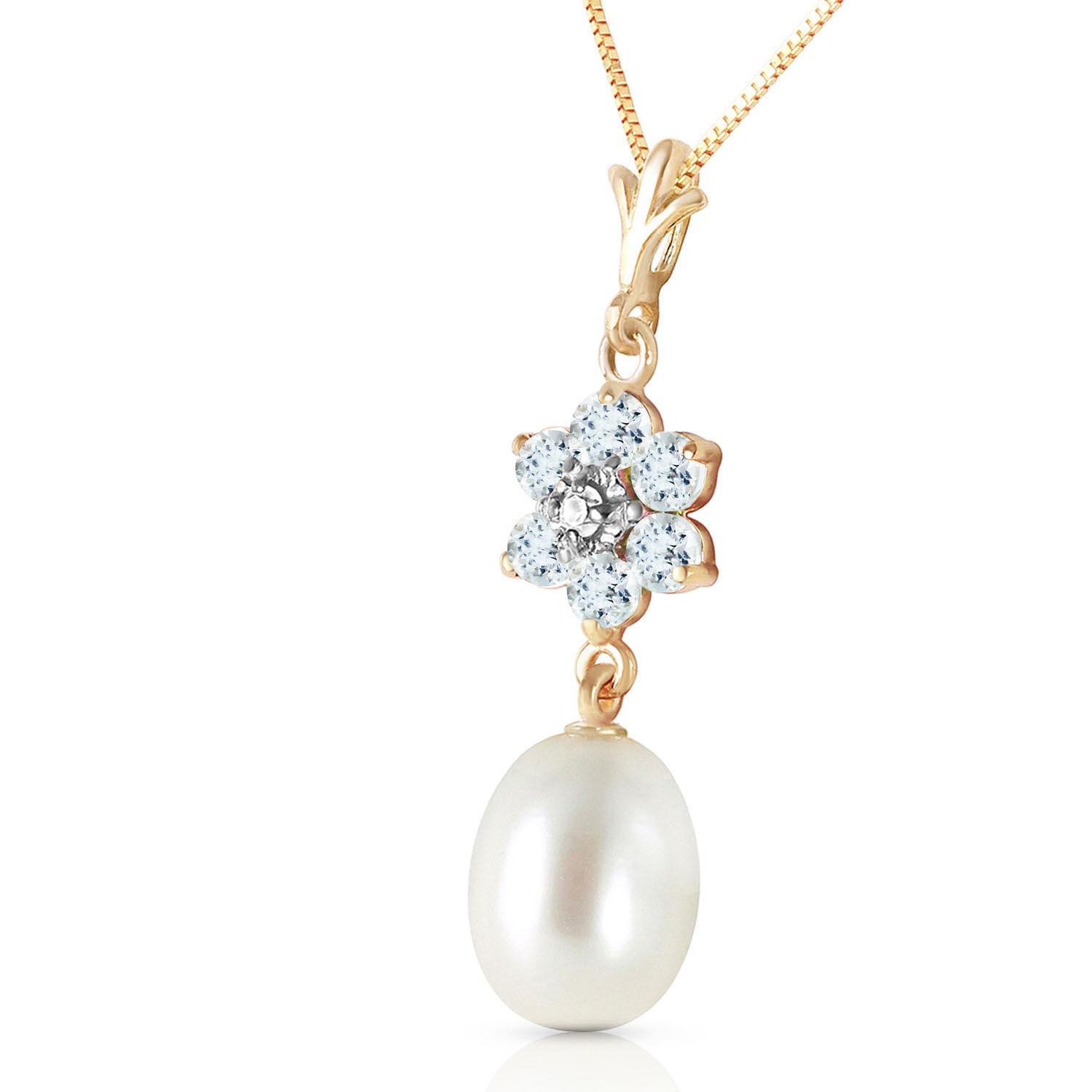 Pearl, Aquamarine and Diamond Daisy Pendant Necklace 4.5ctw in 9ct Gold