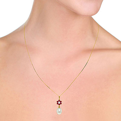 Pearl, Ruby and Diamond Daisy Pendant Necklace 4.5ctw in 9ct Gold