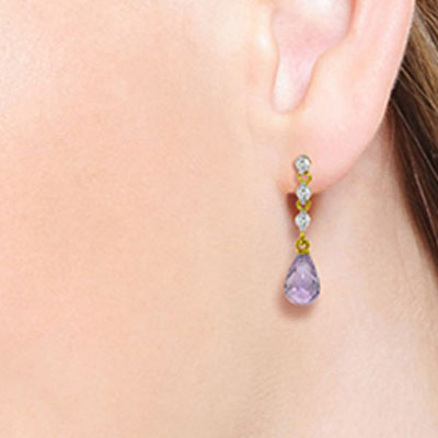 Amethyst and Diamond Chain Droplet Earrings 3.0ctw in 9ct Gold