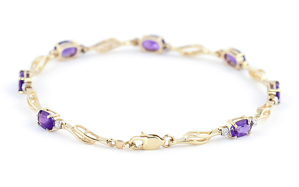 Amethyst and Diamond Classic Tennis Bracelet 2.95ctw in 9ct Gold